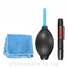 Набор для чистки оптики 3 в 1: груша, карандаш, фибра